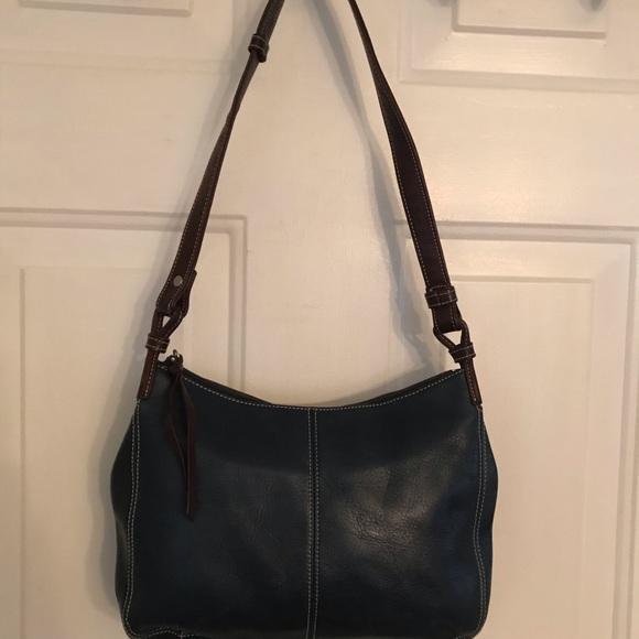 127fcd1bfb8 Tignanello Bags   Blue Brown Leather Shoulder Bag   Poshmark